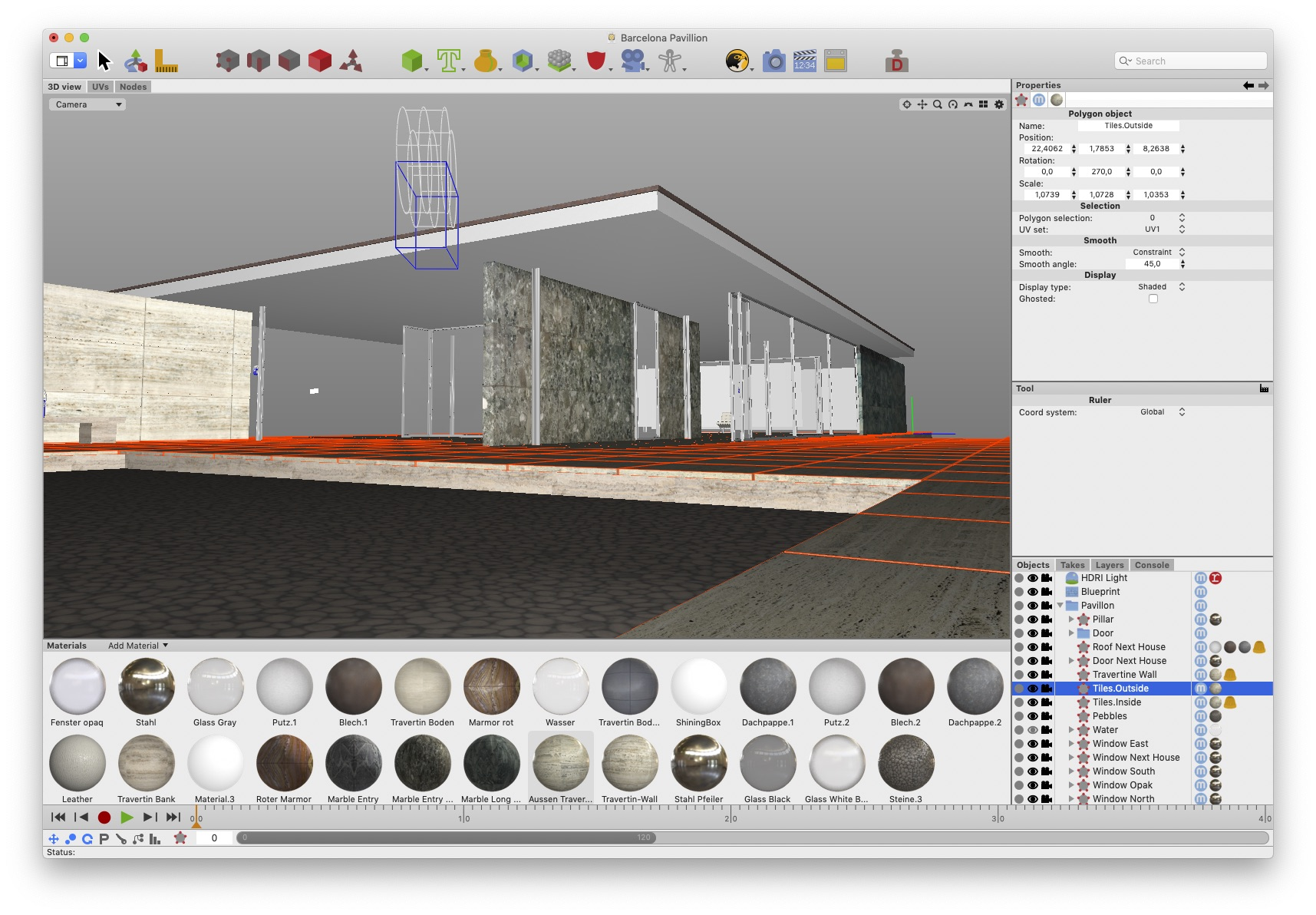 3D model of the Barcelona Pavillon created with Cheetah 3D using Physically Based Rendering materials created with PBRtist.