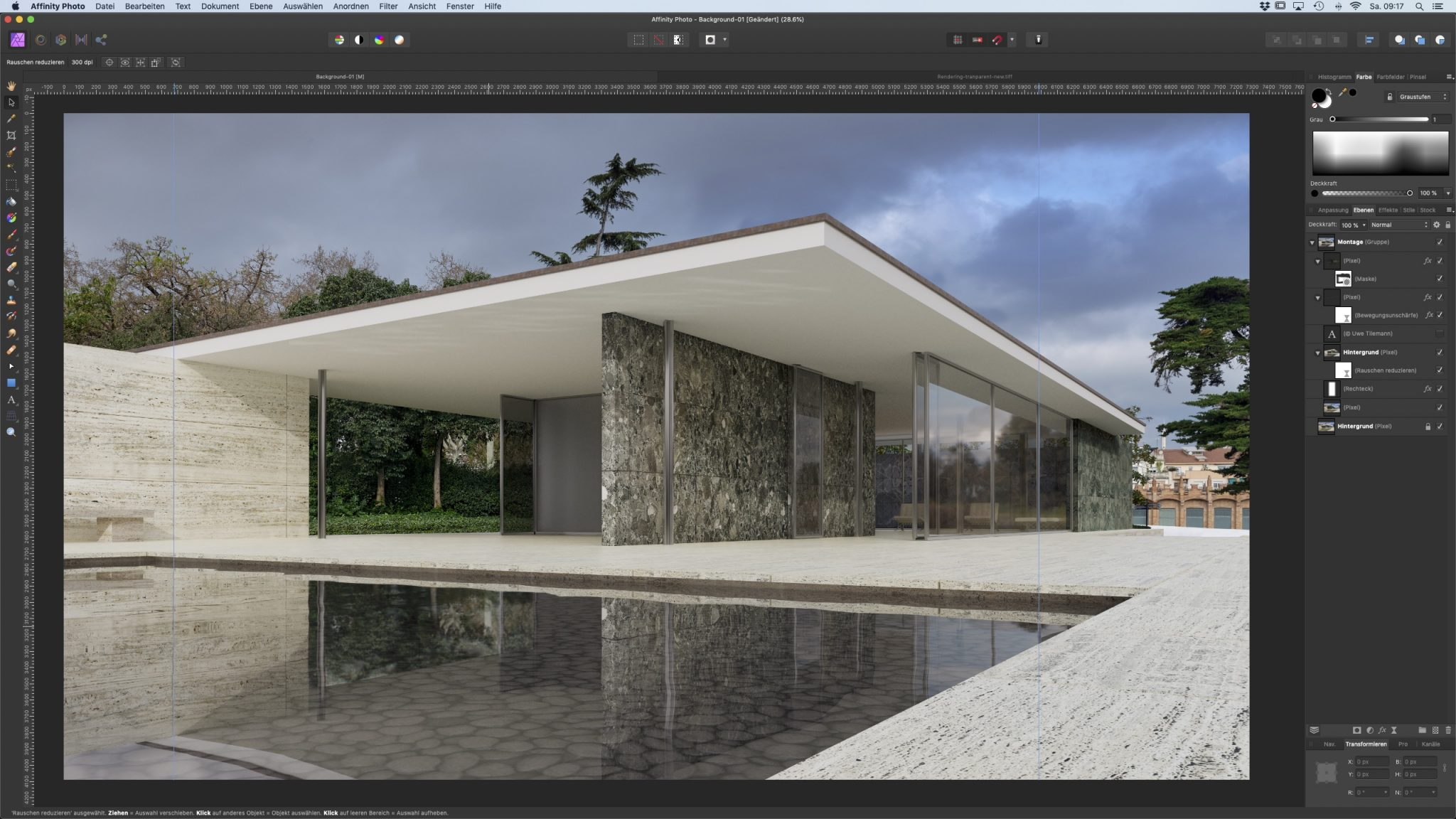 Final composition of the Barcelona Pavilion in Affinity Photo.