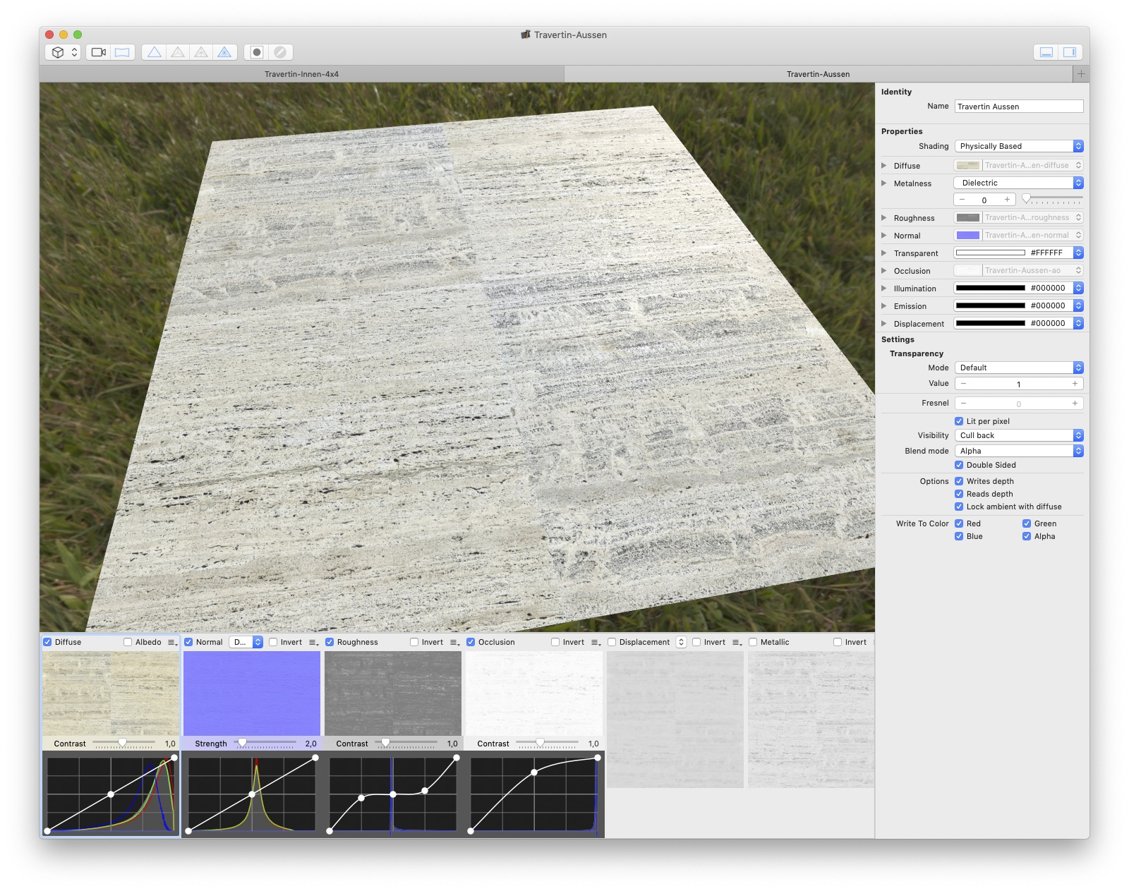 Creating a travertine 3D material with PBRtist based on photos of the Barcelona Pavillon