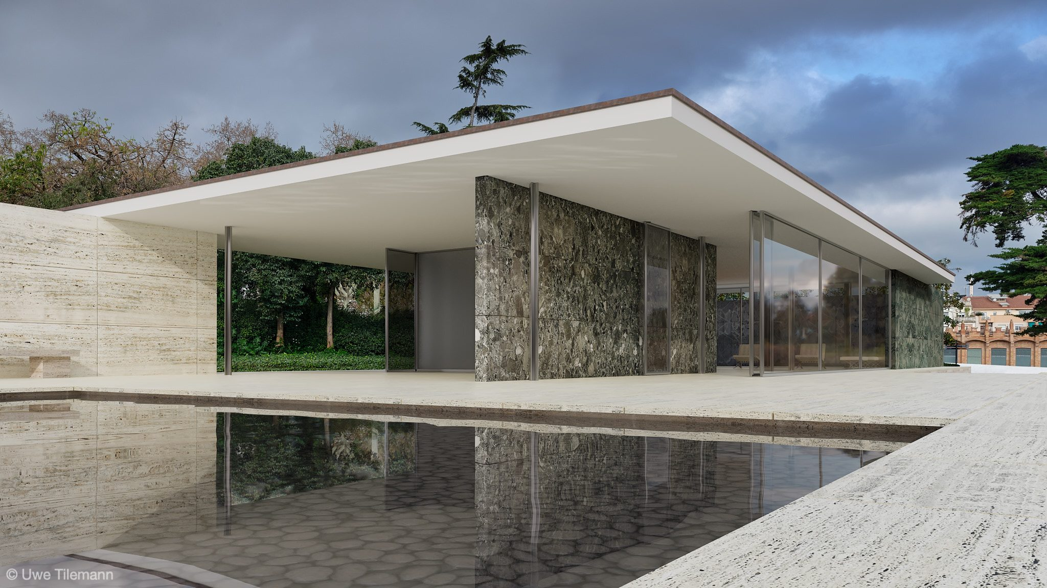 Rendering of Barcelona Pavillon - PBR materials created with PBRtist based on photos took on location.